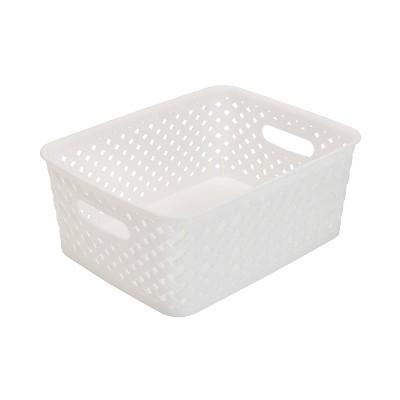 Simplify Small Resin Wicker Storage Bin White