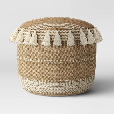 Gemma Pouf Jute Striped/Tassels Natural - Opalhouse™