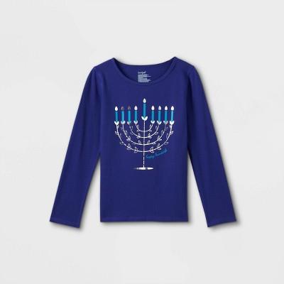 Girls' Adaptive Hanukkah Menorah Long Sleeve Graphic T-Shirt - Cat & Jack™ Blue
