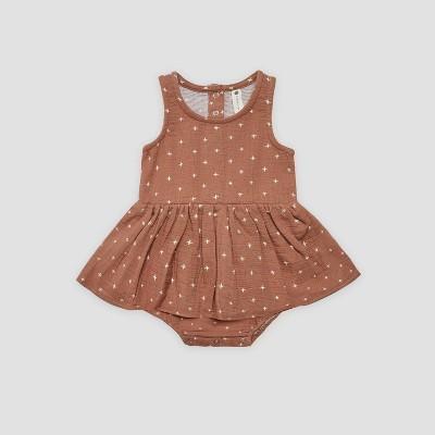 Q by Quincy Mae Baby Girls' Gauze Bodysuit Dress - Clay Brown 0-3M