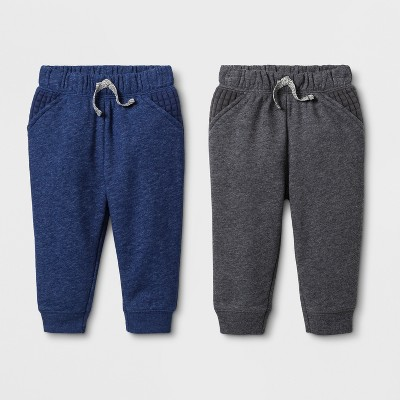 Baby Boys' 2pk French Terry Jogger Pants - Cat & Jack™ Navy/Gray <br>0-3M