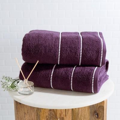 2pc Luxury Cotton Bath Towels Sets Eggplant - Yorkshire Home