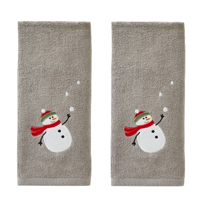 2pk Snowman with Snowballs Hand Towel Set Gray - SKL Home