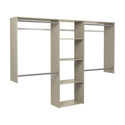 Easy Track OK1460-CG Deluxe Starter Closet Storage Wall Mounted Wardrobe Organizer System Kit with Shelves and Rods, Weathered Grey