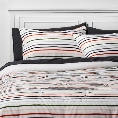 Room Essentials™ Multi Stripe with Gray Sheets  Printed Microfiber Bed Set w/ Sheets