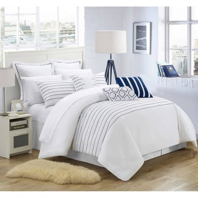 Chic Home Design Queen 9pc Karlston Bed In A Bag Comforter Set White