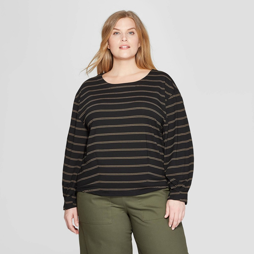 Women's Plus Size Striped Long Sleeve Boat Neck Pleated Knit Top - Prologue Black 1X