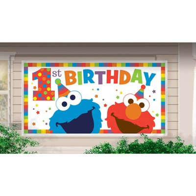 Birthday Express Sesame Street Elmo Turns One Horizontal Giant Sign Banner