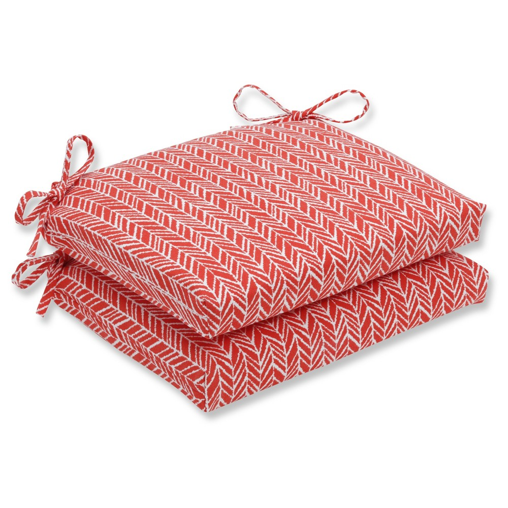 Outdoor/Indoor Herringbone Tomato (Red) Squared Corners Seat Cushion Set of 2 - Pillow Perfect