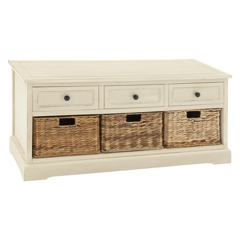 Wood Storage Cabinet 3 Wicker Baskets Drawers White Olivia May Target