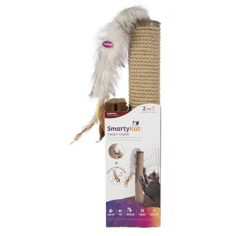 SmartyKat Tweet Tower Jute Rope Cat Scratcher Post with Electronic Sound Cat Toy - image 1 of 4