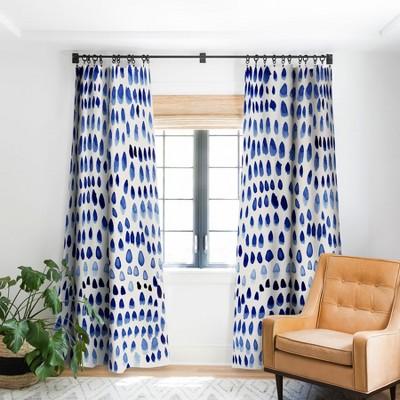 Irish Lehnhardt Painted Dots Blue Single Panel Blackout Window Curtain - Society6