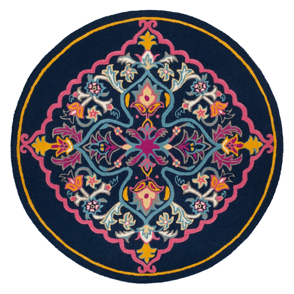 7' Medallion Round Area Rug Navy Blue - Safavieh, Navy Blue/Multi-Colored