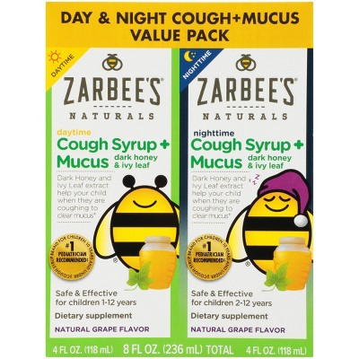 Zarbee's Naturals Children's Daytime/Nighttime Cough Syrup + Mucus Reducer - Grape - 8 fl oz/2ct