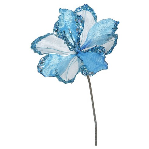"20"" Christmas Velvet Amaryllis Sky Blue 3 ct - image 1 of 1"