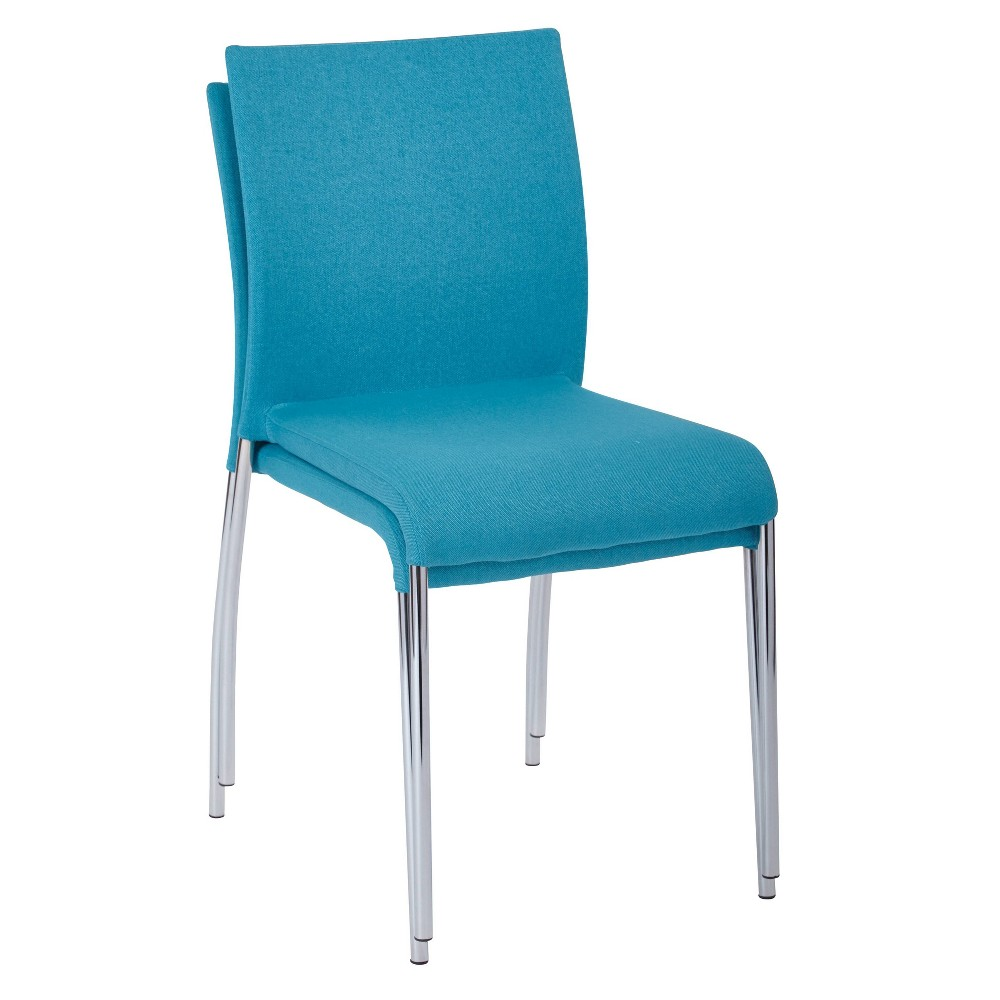 Image of 2pk Conway Stacking Chair Aqua - OSP Home Furnishings, Blue