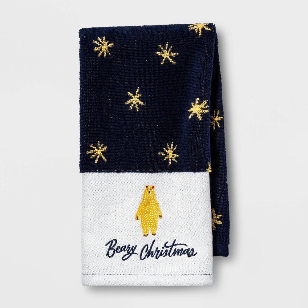 Image of Beary Christmas Hand Towel Blue - Opalhouse , Yellow Blue White