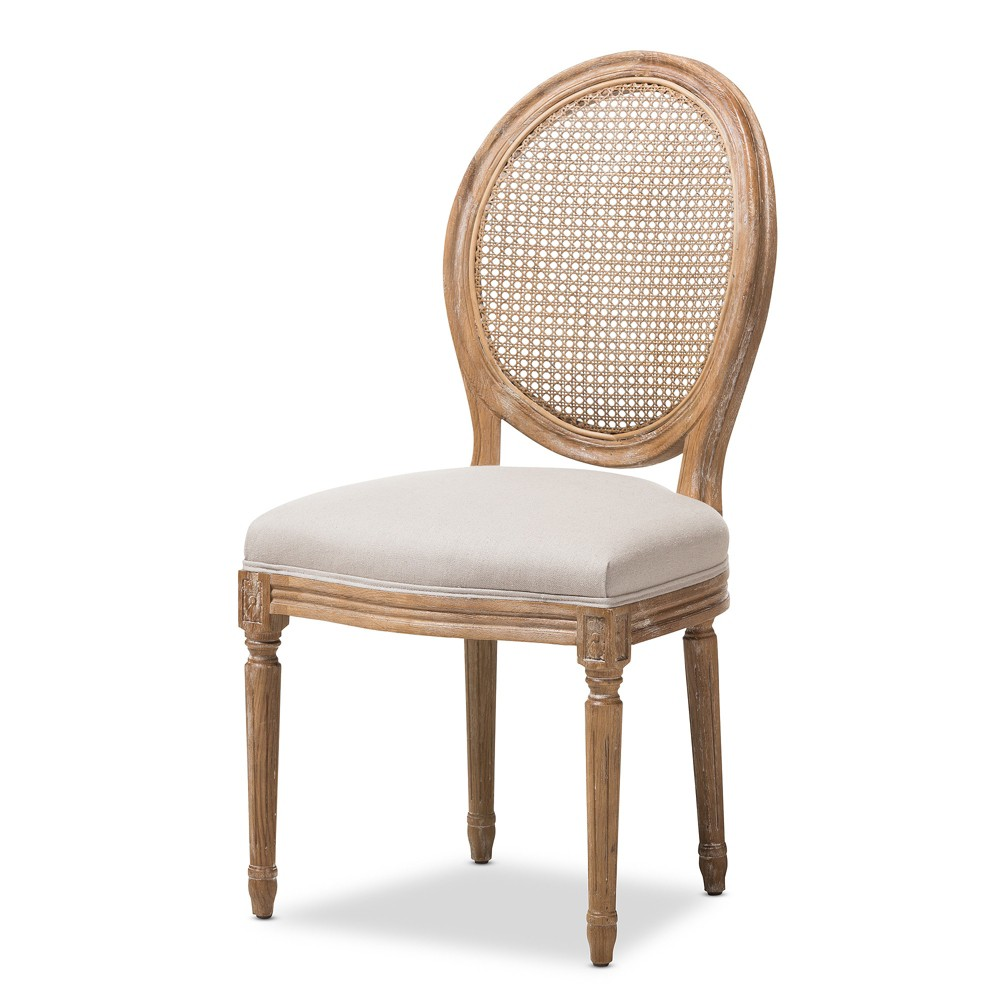 Adelia French Vintage Cottage Weathered Oak Wood Finish and Fabric Upholstered Dining Side Chair with Round Cane Back - Beige - Baxton Studio, Buff Beige