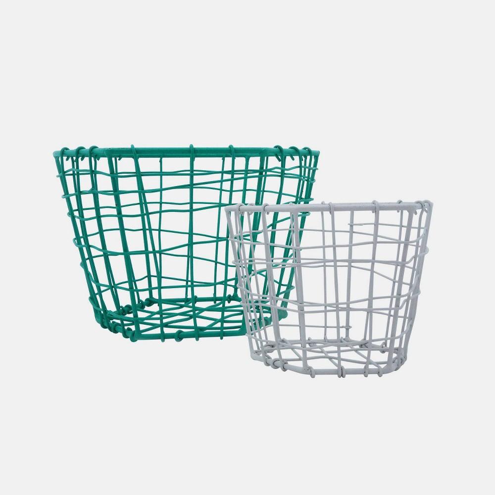 """Image of """"2pc 8"""""""" Metal Hexagon Baskets Green & Gray - Foreside Home & Garden"""""""