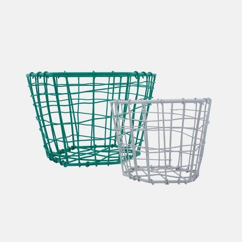 """2pc 8"""" Metal Hexagon Baskets Green & Gray - Foreside Home & Garden - image 1 of 3"""