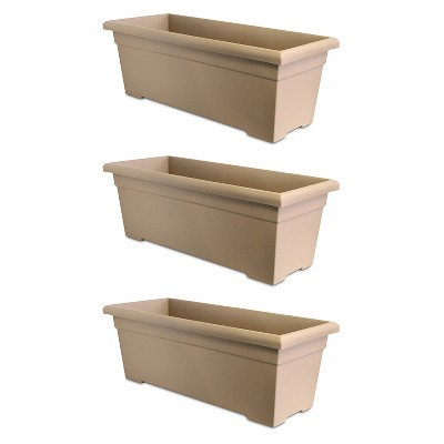 HC Companies ROP28000A34 28-Inch Plastic Romana Deck Planter, Sandstone (3 Pack)