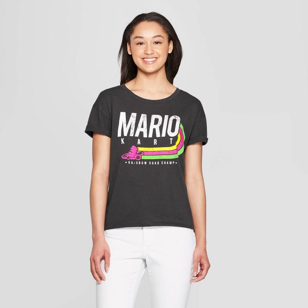 Women's Nintendo Short Sleeve Rainbow Champ Mario Kart T-Shirt (Juniors') - Black Xxl