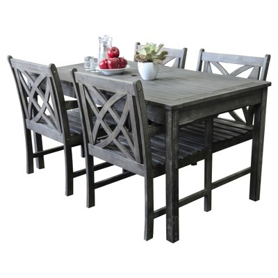 Vifah Renaissance Eco Friendly 5 Piece Outdoor Hand Scraped Hardwood Dining  Set With Rectangle Table And Arm Chairs : Target