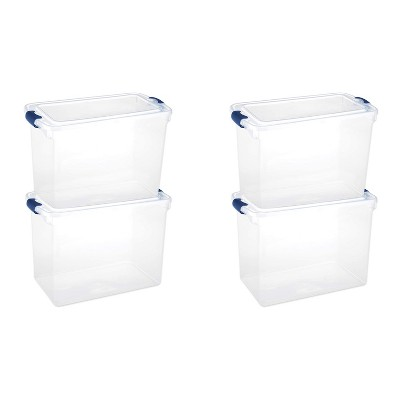 Homz Heavy Duty Modular Stackable Storage Tote Containers with Latching Lids, 15.5 Quart Capacity, Clear, 4 Pack