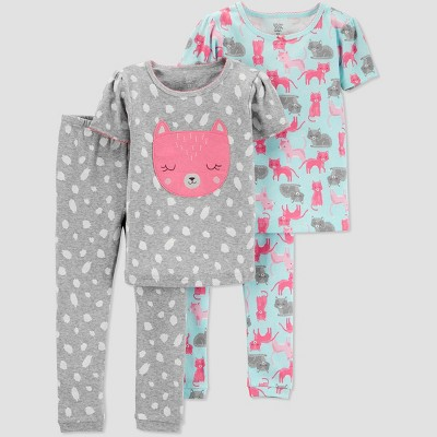 Toddlers Girls' 4pc Fox South Pajama Set - Just One You® made by carter's Gray 3T