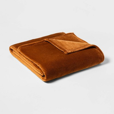 Twin/Twin XL Microplush Bed Blanket Caramel - Threshold™