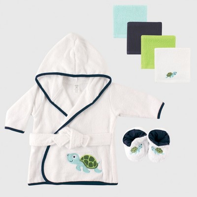 Luvable Friends Baby Boys' Bath Robe & Washcloth Set, Turtle - Green 0-24M