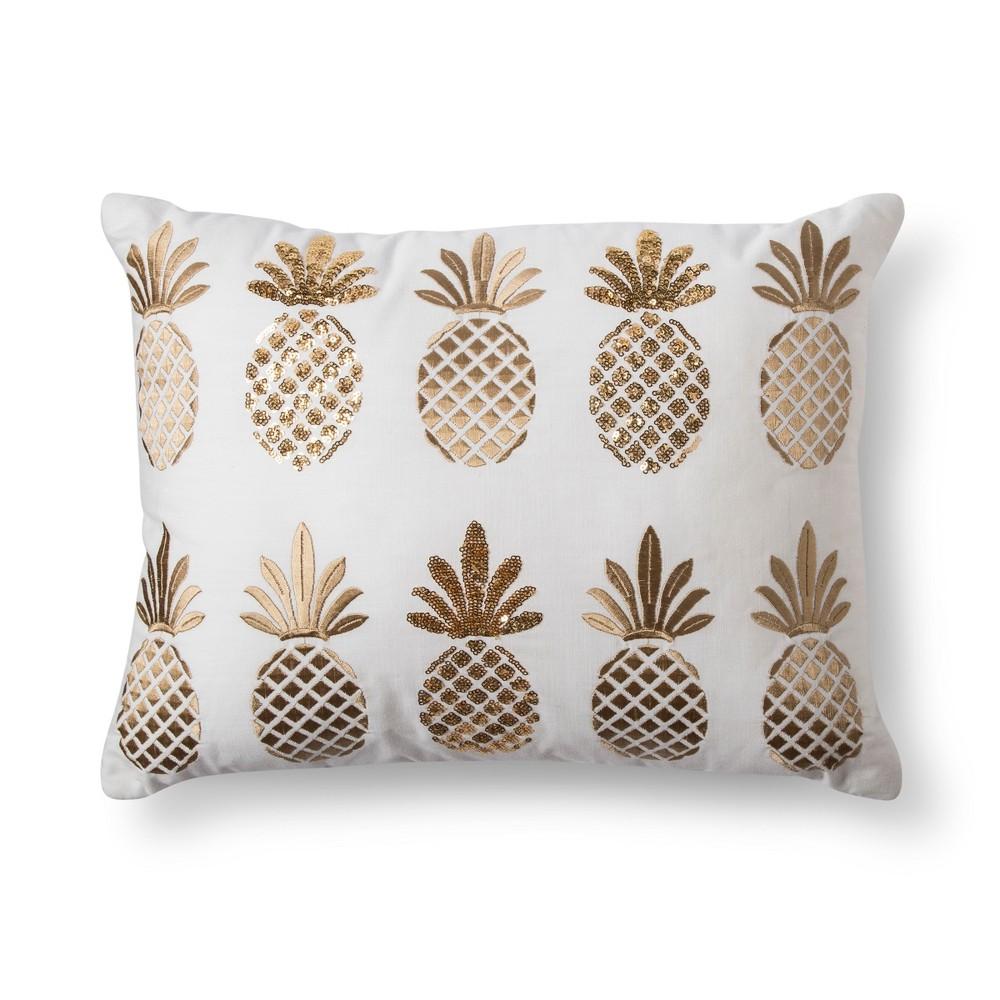 Yellow Pineapple Lumbar Pillow - No Coast, White
