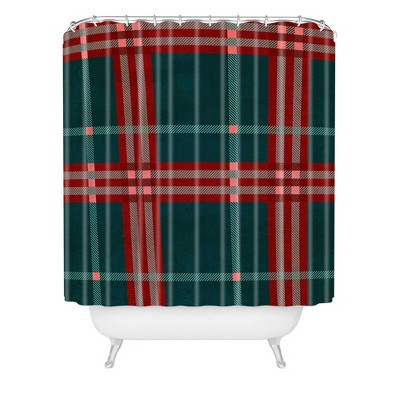 Emanuela Carratoni Tartan Theme Christmas Shower Curtain Red/Green - Deny Designs
