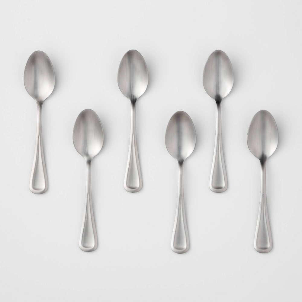 Image of 6pk Stainless Steel Olisa Satin Teaspoons - Threshold , Silver