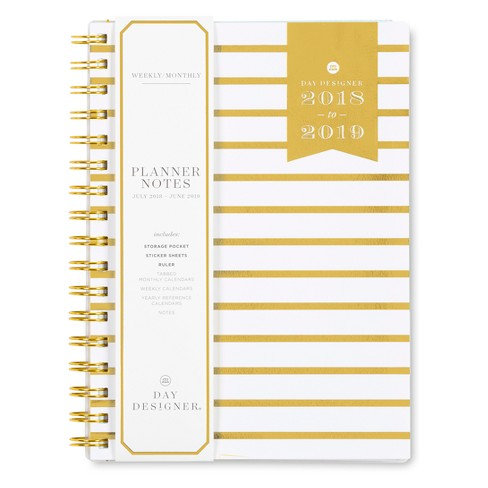 2018 - 2019 Academic Spiral Day Designer Stripe Monthly Weekly Planner - Gold/White - image 1 of 5