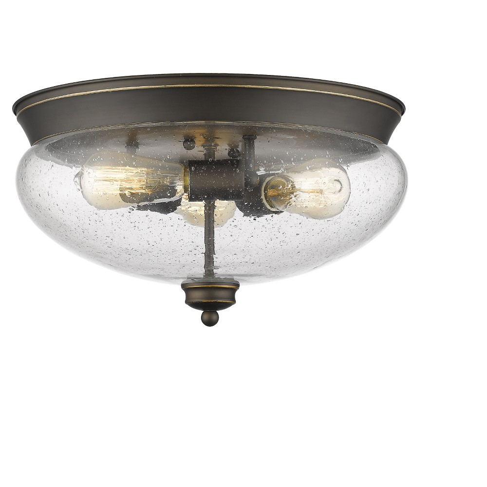 Flush Mount Ceiling Lights with Clear Seedy Glass (Fit 3 Bulbs) - Z-Lite