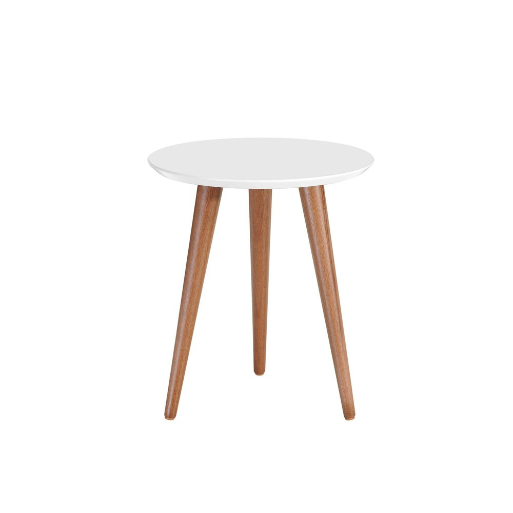 """Image of """"17.32"""""""" Moore Round End Table Gloss White - Manhattan Comfort"""""""