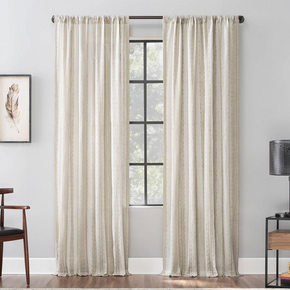 52 34 x96 34 Slub Texture Stripe Cotton Light Filtering Curtain Archaeo