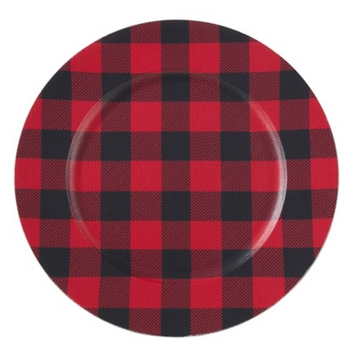 Set of 4 Buffalo Plaid Design Table Chargers Red/Black - Saro Lifestyle