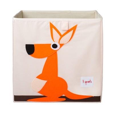 3 Sprouts Large 13 Inch Square Children's Foldable Fabric Storage Cube Organizer Box Soft Toy Bin, Orange Kangaroo