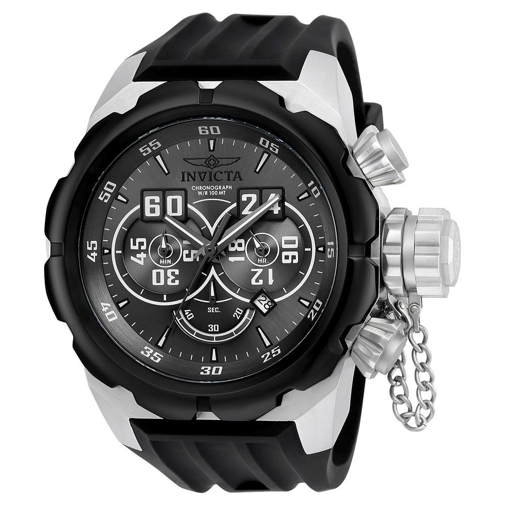 Men's Invicta 21629 Russian Diver Quartz Multifunction Titanium Dial Strap Watch - Black