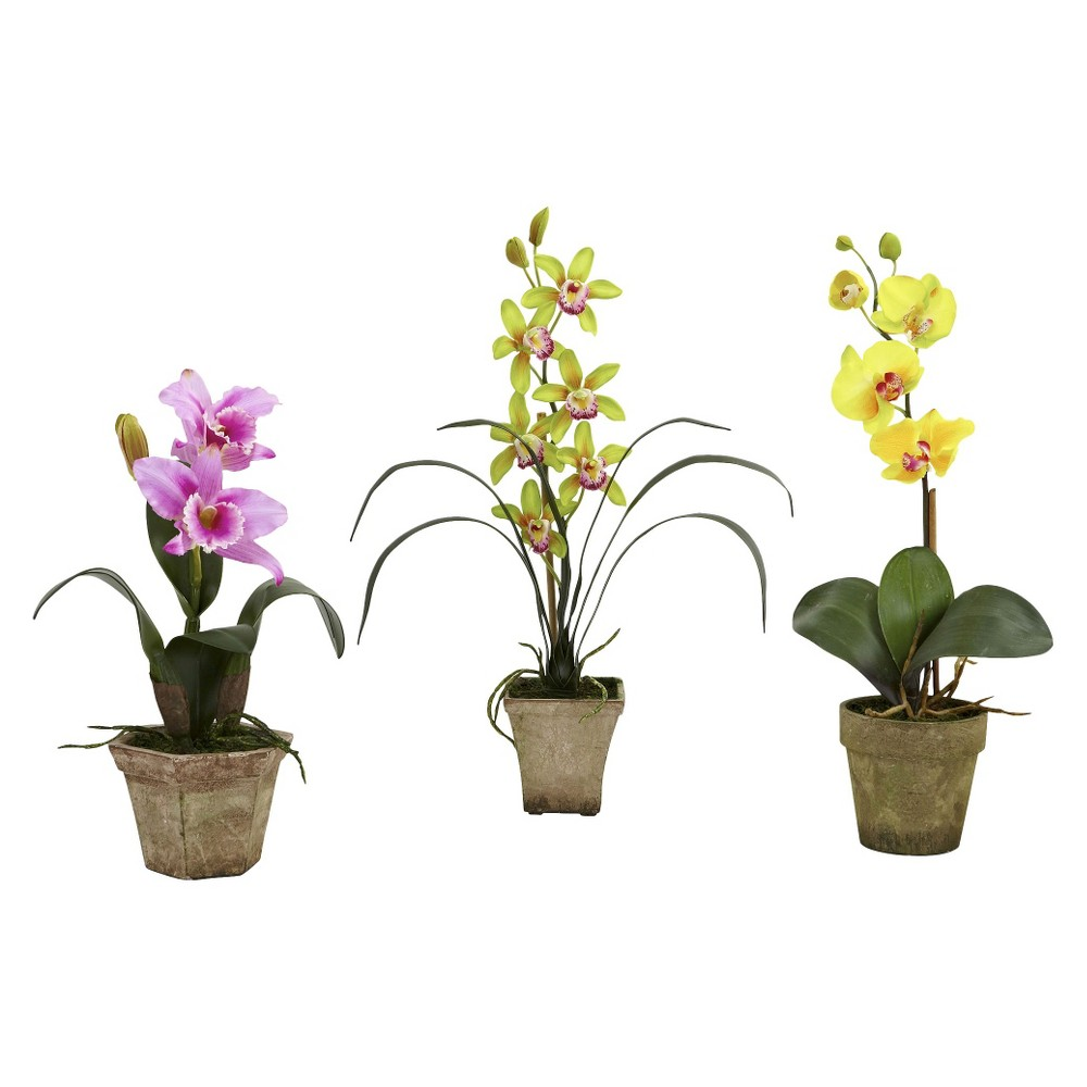 Nearly Natural Potted Orchid Mix (Set of 3), Bright