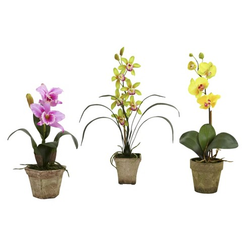 Nearly Natural Potted Orchid Mix (Set of 3) - image 1 of 4