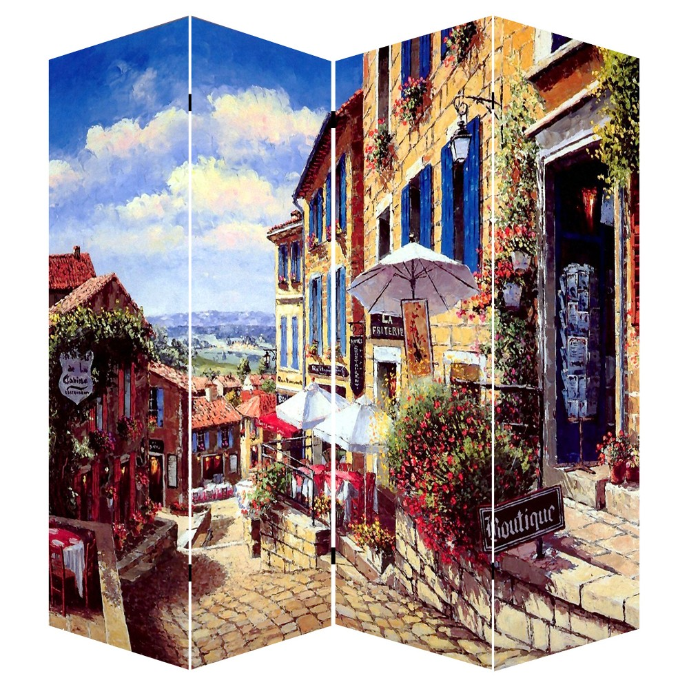 Room Divider 71 - Canvas - French Countryside Scene - Ore International, Multi-Colored