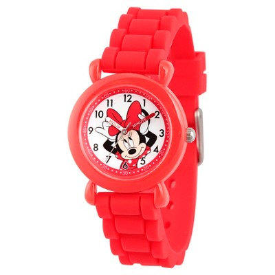 Girls' Disney Minnie Mouse Red Plastic Time Teacher Watch, Red Silicone Strap