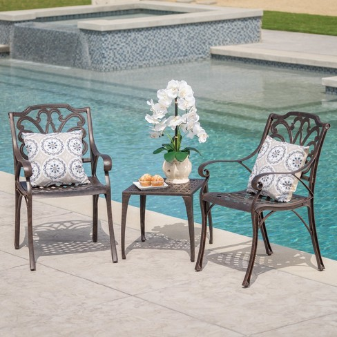Kai 3pc Cast Aluminum Chat Set - Bronze - Christopher Knight Home - image 1 of 4