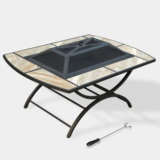2-in-1 Ceramic Tile Fire Table - Natural - leisurelife