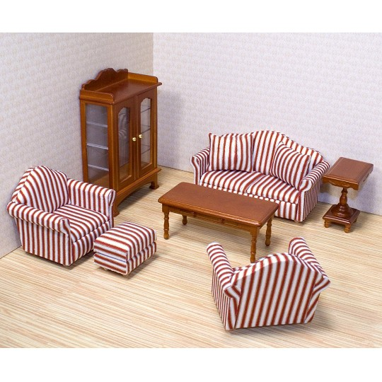 Melissa & Doug Classic Victorian Wooden and Upholstered Dollhouse Living Room Furniture (9pc) image number null