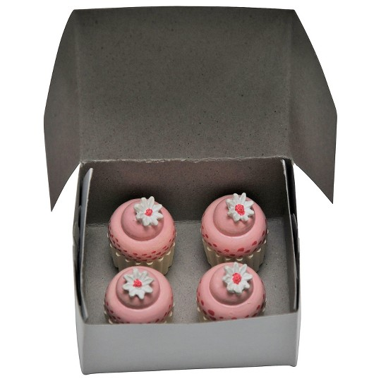 "18"" Doll Food Kitchen Accessories - 4 Mini Cupcakes with Real Bakery Box image number null"