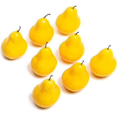 Juvale 8 Pack Decorative Artificial Fake Fruit Pears, Faux Fruit Décor (4.3 in)